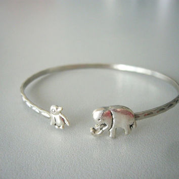 Elephant cuff bracelet with a penguin wrap style