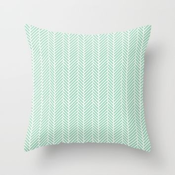 Herringbone Mint Inverse Throw Pillow by Project M