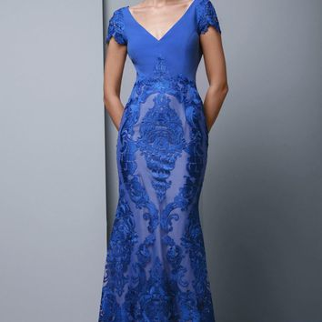 Beside Couture - BC1347 Embroidered Lace V-neck Trumpet Dress