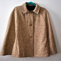 Vintage 50s 60s Tweed Reversible Tan Brown Twill Cape Cloak Poncho Jacket Coat / Sherlock Holmes Wool Overcoat / One Size Fits Most