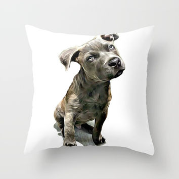 Pitbull Puppy Throw Pillow by ritmo boxer designs