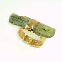 Raw Kyanite Ring, Delicate Green Kyanite Ring, Stacking Gemstones Ring,  24K Gold,  Adjustable Mineral Ring, Unique Design By Inbal Mishan.
