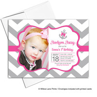 Nautical birthday party invitations for girl | baby girl 1st birthday invites | gray and hot pink chevron birthday invitation - WLP00318