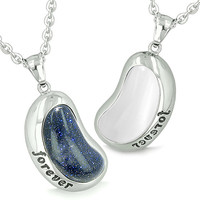 """Lucky Bean Eternity """"Forever"""" Amulets Blue Goldstone White Cats Eye Pendant Necklaces"""