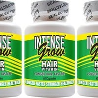 Intense Grow Hair Vitamins 3 Pack Buy At the Lowest Price Ever for Fast Hair Growth Vitamins for Long Hair
