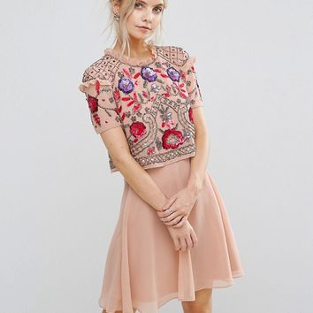 Frock And Frill Petite Overlay Mini Skater Dress With Floral Embellishment at asos.com
