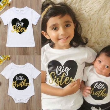 Newest Newborn Baby Big Sister T-Shirt Little Brother Bodysuit Rompers Clothes Kids Cotton Casual Short Sleeve Clothing
