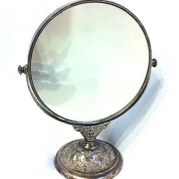 Vintage Round Mirror With Stand Double Sided Mirror Two Sided Silver Mirror Vintage Mirror Antique Mirror Vanity Mirror Victorian Mirror