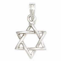 14k White Gold Jewish 3-D Star of David Pendant