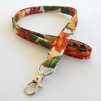 Sunflower Lanyard / Harvest / Autumn Keychain / Sunflowers / Velvet Queen / Key Lanyard /  / ID Badge Holder / Fabric Lanyard / Floral Print