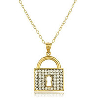 14k Yellow Gold Key Lock Pendant Layered Anchor Necklace 18Inch