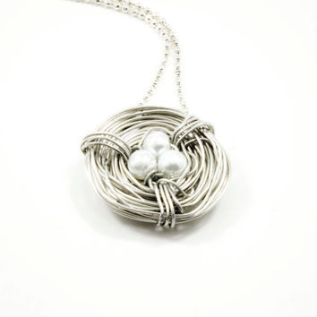 Silver Bird Nest Necklace, Summer Trends, Small Size