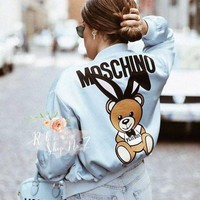 Moschino Trending Women Cute Zipper Long Sleeve Bomber Jackets I