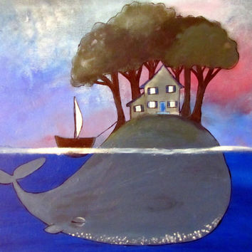 Kids Wall Art, Original Acrylic Whale Painting, Fairytale Nursery Decor, Storybook Style Artwork for Children and Baby, Cute Whimsical Art