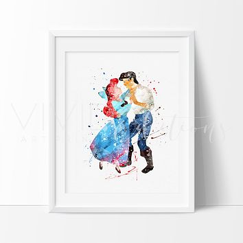 Ariel & Prince Eric, Little Mermaid Watercolor Art Print
