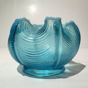 Blue Opalescent Drape Bowl, Fenton Blue Opalescent Drape Pattern Bowl, Fenton Art Glass Rose Bowl, Fenton Pedestal Blue Opalescent Bowl