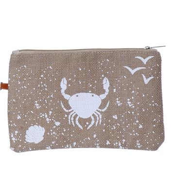 Crab Burlap Zipper w/ Wristlet Cosmetic Bag