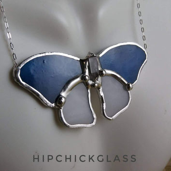 Stained Glass Butterfly Necklace, blue & white glass & crystal point body