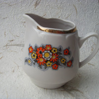 Vintage Soviet Porcelain Creamer With Flower Design Made in USSR in 1980s