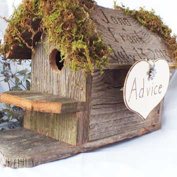 Advice For The Bride And Groom Birdhouse - Wedding Advice Box- Rustic, Burlap, Vineyard, Or Barn Wedding Decor