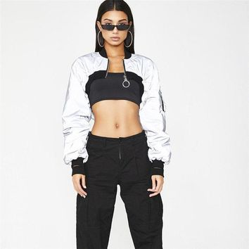 Exercise Jackets Womans Clothing Sports Winter Gym Women Clothes Short Zipper Turtleneck Full Sleeve Female Reflector Jackets