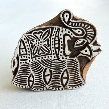Indian Elephant Stamp, Hand Carved Wood Stamp, Printing Block, Ceramic Textile Pottery Stamp, Lucky Feng Shui Symbol, India Decor