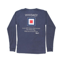 Long Sleeve Whiskey Flag Tee in Navy by Country Club Prep - FINAL SALE