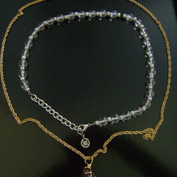 "Elegant Vintage ""GIVENCHY"" Silvertone With Clear Lucite Crystal Ball Beaded Adjustable Necklace Plus BONUS Avon Amethyst Pendant/Necklace"