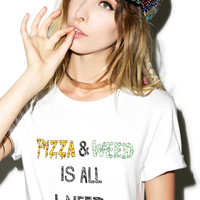 Youth Decay Pizza & Weed Tee White