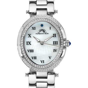 Porsamo Bleu Women's South Sea Oval Crystal & Mother Of Pearl Watch, 30.75mm