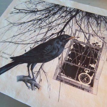 Crow fabric panel craft fabric large size Jane Austen quote blackbird raven scrapbooking art journal cotton sewing supply decoration