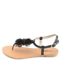 Chiffon Rosette T-Strap Thong Sandals by Charlotte Russe - Black