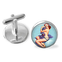 Pin-up girl cufflink cuff links playboy vintage retro gift for men broom wedding best men players resin glass dome cabochon handmade under