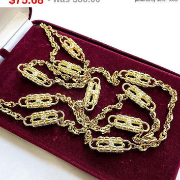 SALE Jackie Kennedy, Jackie O Paper Clip Rhinestone Necklace Vintage by Camrose & Kross