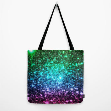 SALE Galaxy Tote Bag, Cool Tones Galaxy Tote Bag, Astral Glitter, Blue Tote Bag, Canvas Tote, Large Tote, Market Tote, Book Bag, Colorful Ba