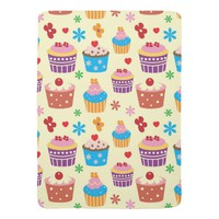 Cute Colorful Cupcakes Pattern Baby Blanket