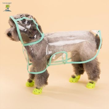 Pet clothes transparent clear Dog Raincoat xs pink Waterproof Dog Rain jacket coat poncho with hood for small and large dog