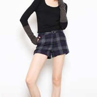 Black Top with Contrast Gray Rib Knitted Cuffs and Cut Out to Thumb