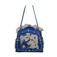 1920s French haute couture superb blue silk embroidered handbag