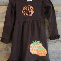 Girl's Fall Dress Monogrammed; Girl's Fall Dress; Fall Dress Monogrammed; Girl's Pumpkin Dress; Girl's Brown Dress; Girl's Dress; Fall Dress