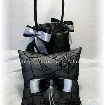 Gothic Wedding Black and White Spiderweb Halloween Ring Pillow and Flower Girl Basket Set