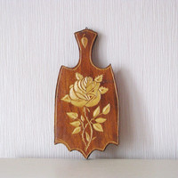 Vintage wooden hand carved trivet - Cutting board - Kitchen wall decor - Made in USSR