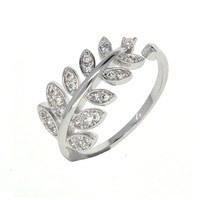 Dear Deer White Gold Plated Leaves Leaf Adjustable Branch Cubic Zirconia Ring