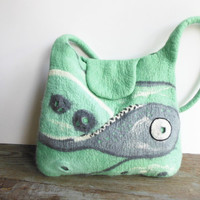 Felted bag, hand felted wool tote bag purse, unique handbag, designer's art bag OOAK gray mint white design bag