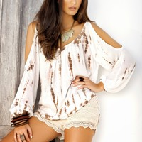 Elan International Peek a Boo Open Shoulder Blouse Tan Tie Dye