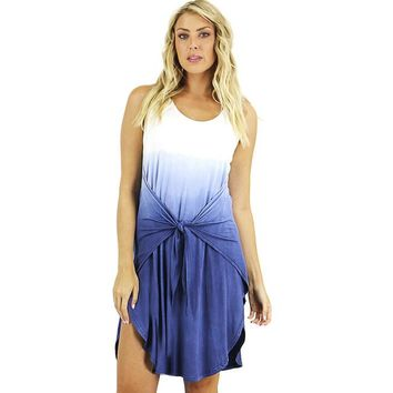 Blue Ombre Tie Waist Dress