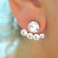 Ear Jacket Earring Crystal - Gold plated