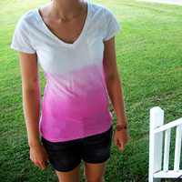 Dip Dye Ombre Pink T-shirt size SMALL