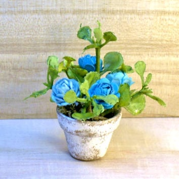 Cottage Chic Miniature Plant Fairy Garden DollhouseTurquoise Flowers in Clay Pot