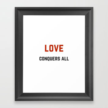 LOVE CONQUERS ALL Framed Art Print by Love from Sophie